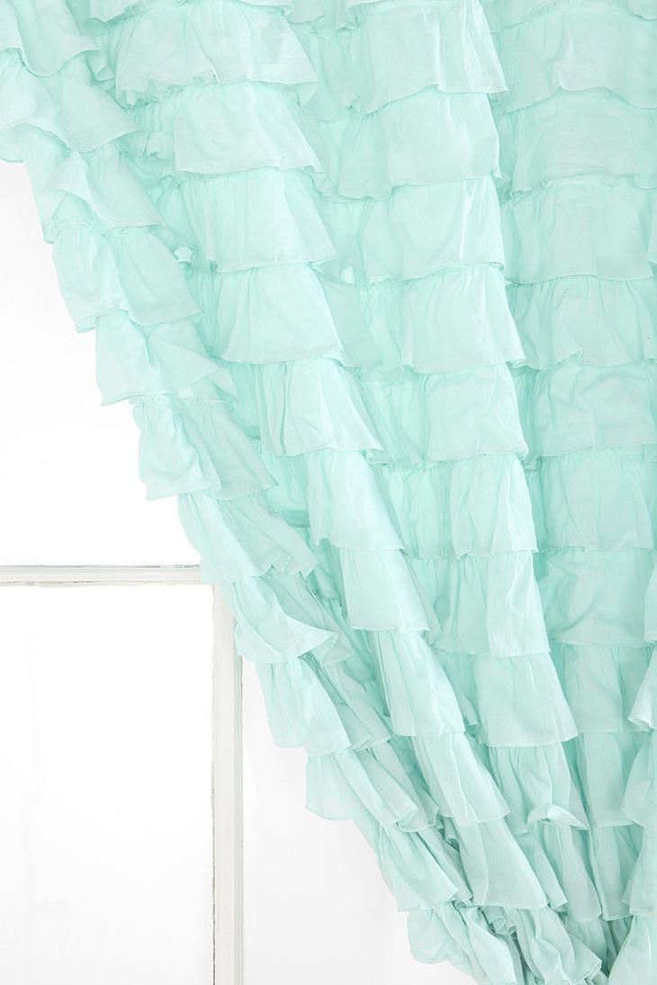 Mint Green Kitchen Curtains Waterfall Ruffle Curtain Private Quarters Ruffle Curtains