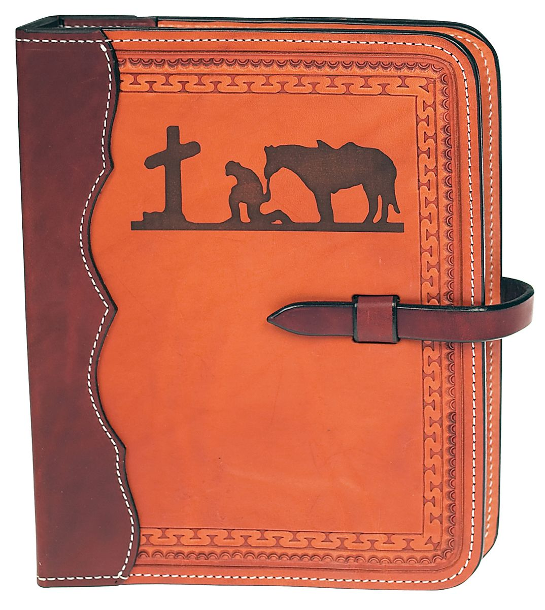 Bible Covers: Western Style Personalized Tooled Leather Bible Cover