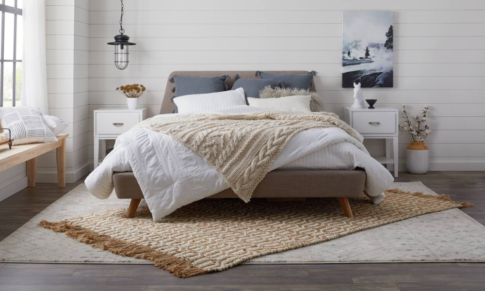 Area Rug Size Guides For Twin And Queen Size Beds Rug Size Guide Rug Placement Area Rug Sizes