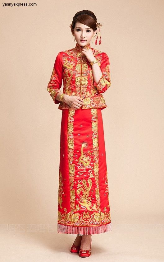 24afa9a29 Chinese Wedding Qun Kwa Dragon & Phoenix Embroidery Gown | Wedding ...