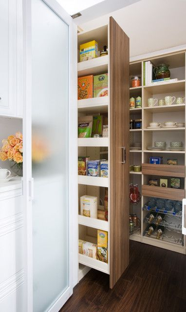 Pull Out Pantry With Blackboard Wall Behind
