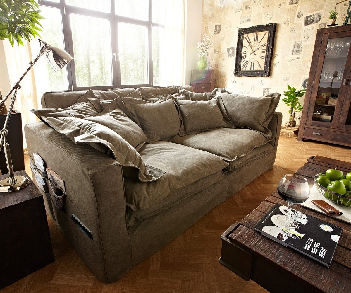 DELIFE Hussensofa Noelia 240x145 cm Braun Couch mit Kissen, Big ...