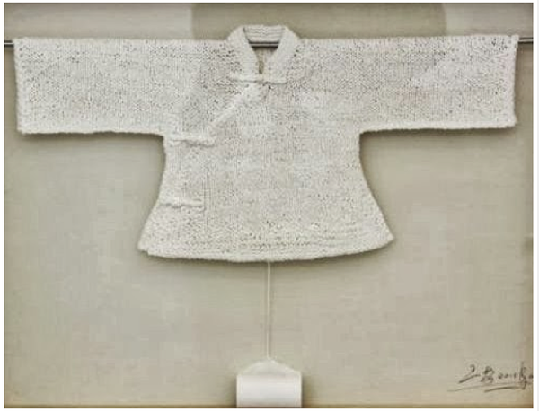 traditional Chinese garment - knit from toilet paper by fashion artist & designer Wang Lei