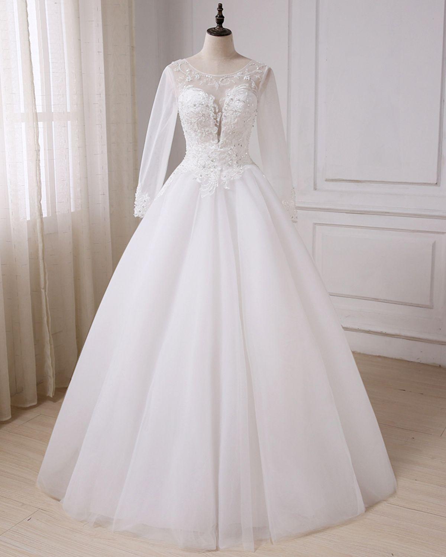 White tulle long sleeve wedding dress long beaded winter formal