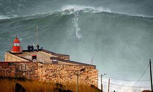 Photograph of Garrett McNamara on the wave