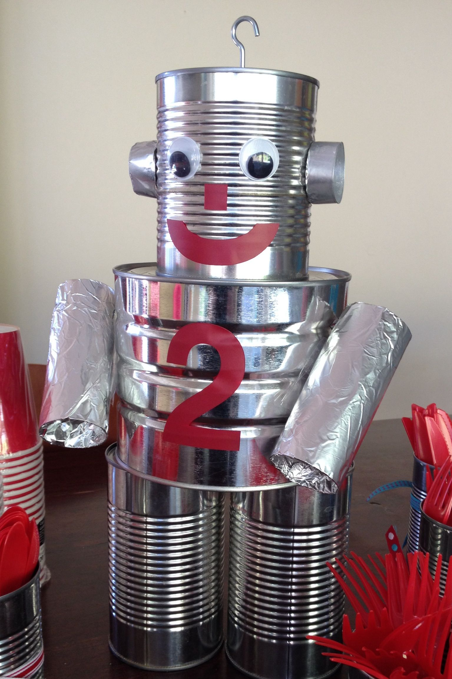 Tin can robot rockets and robots party pinterest for How to make a tin man out of cans