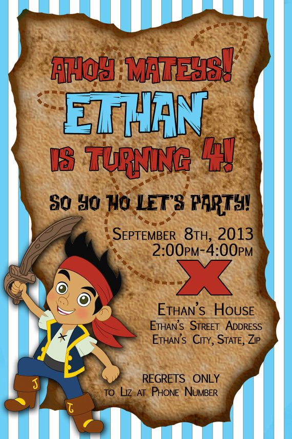 Jake And The Neverland Pirates Birthday Party Invitation