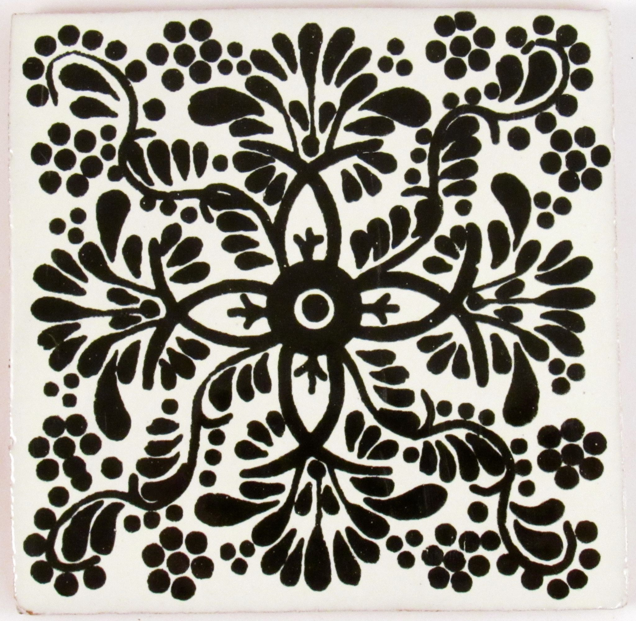 Mexican Tile 4 T4011 Boho Diy Talavera Pottery Black