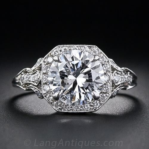 2.17 Carat D Colorless Diamond Edwardian Style Engagement Ring - GIA D-VS2