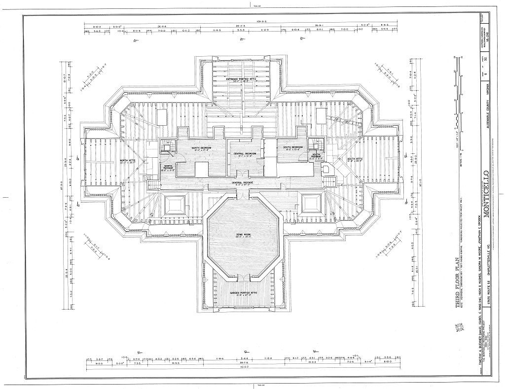 Monticello top floor architectural floor plans for Monticello house plans