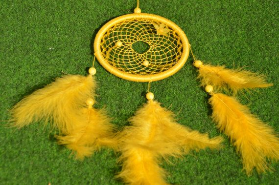 Yellow Dreamcatcher / Dream catcher with Jade gemstone and plastic ...