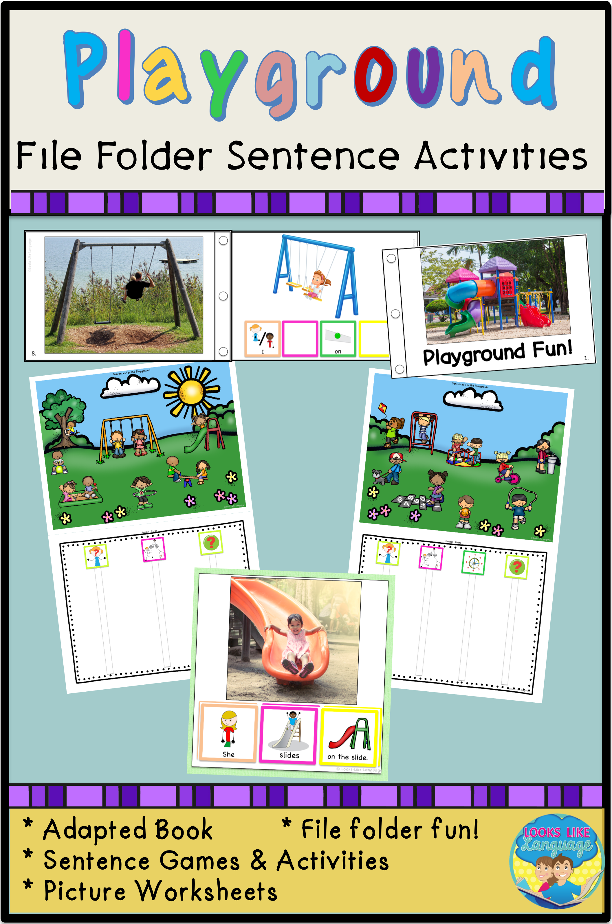 File Folder Games For Special Education Playground Sentence Activities Special Education Resources Activities Sentence Building Activities [ 3193 x 2114 Pixel ]