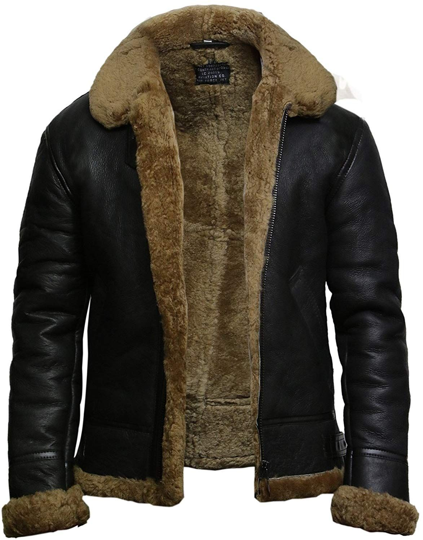 6ab97c7d656 Brandslock Hommes Aviator B3 Guerre mondiale 2 Real peau retournée  Sheepskin Flying jacket (Small