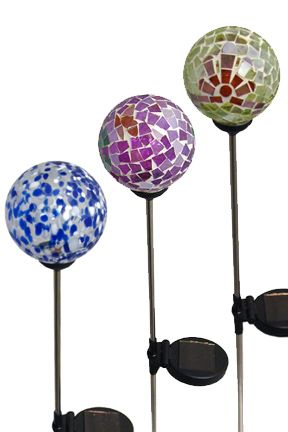 Color Changing Stake Lights. Decorate your yard or garden with these fun lights. Battery operated, and recharged via a solar panel. Super bright, internal LED lights can be set to single clear bulb or multi color fade.
