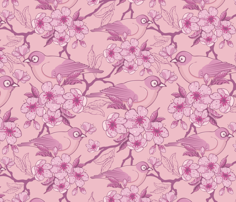 Birds and Sakura Blossoms fabric by oksancia on Spoonflower - custom fabric  $18 / yard