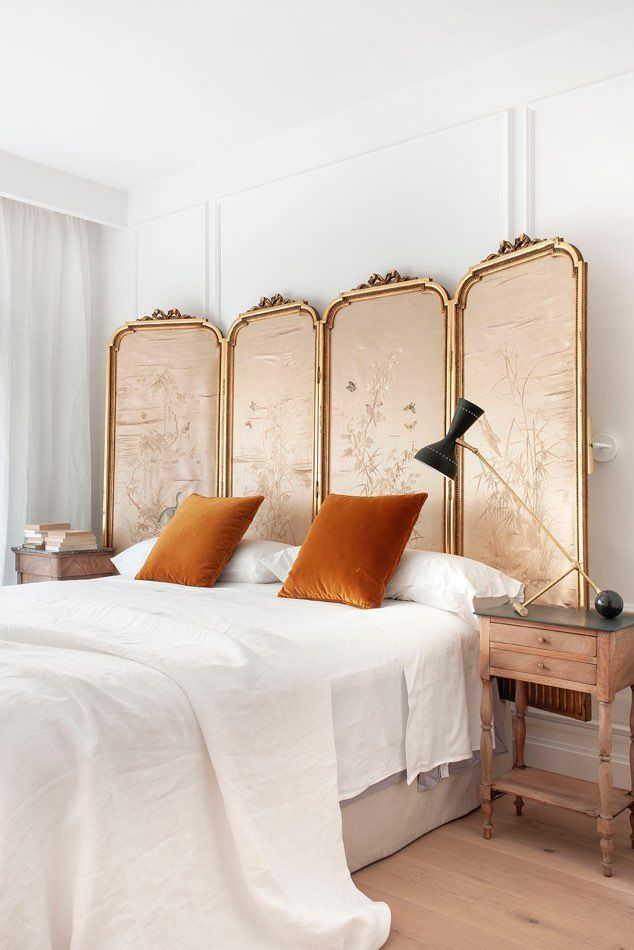 bohemian bedroom in neutral and gold ton… - Blog