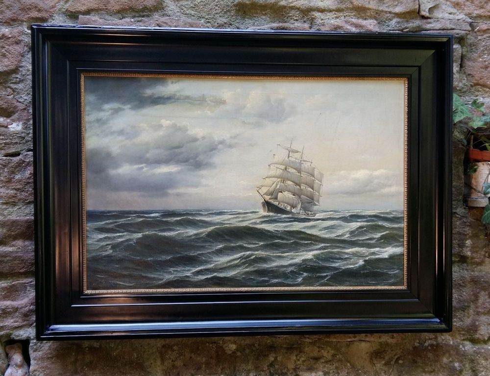 Dreimaster Segelschiff. Maritimes orig.Ölgemälde 1909 sign. WILLY HANKEN (*1866)