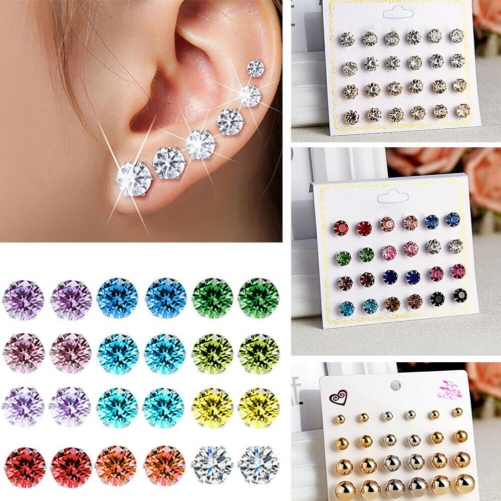 12 Pairs Stud Earrings for Women Girls Stainless Steel Turquoise Fashion Jewelry Earrings Sets