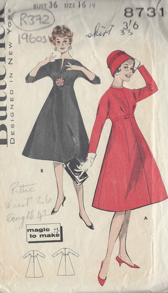 "1960s Vintage Sewing Pattern B36"" DRESS (R372)"