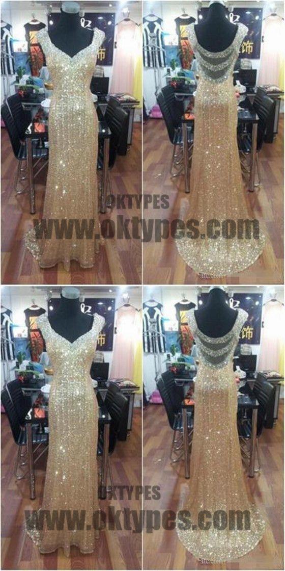 Golden Sequin Prom Dresses, Long Mermaid Prom Dresses, Off-shoulder Prom Dresses, Backless Prom Dresses, TYP0186 #promdresses