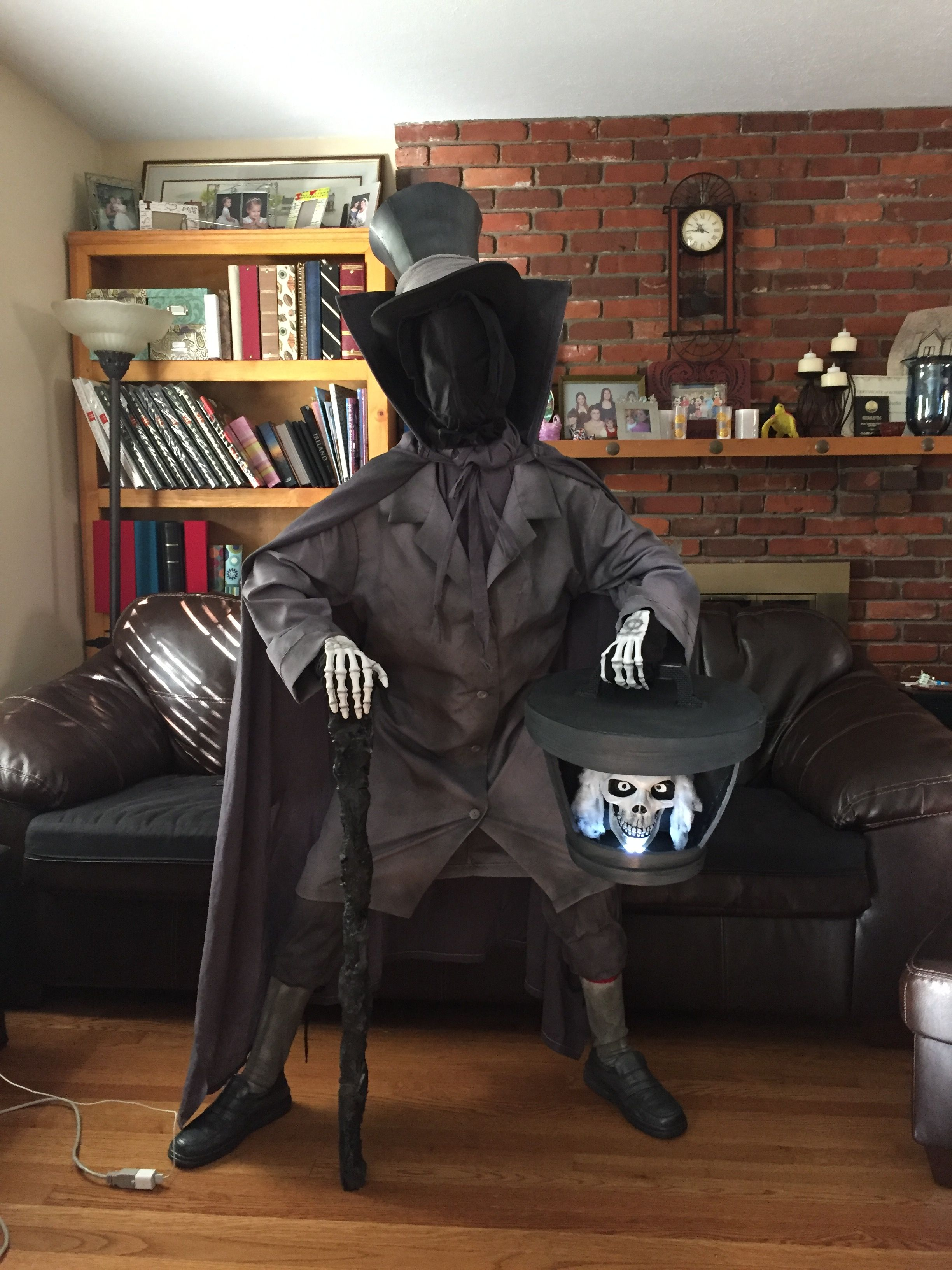 Diy Hatbox Ghost Costume I Made For My Son Hatbox Ghost Haunted Mansion Costume Ghost Costume