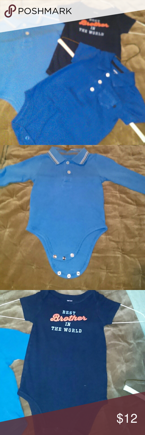 3 oneies 3 blue oneies with 3 pictures to show each..  Long sleeve  and 2 short sleeve. One Pieces