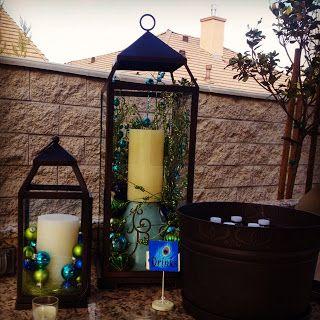 blue and lime green bulbs in hurricane
