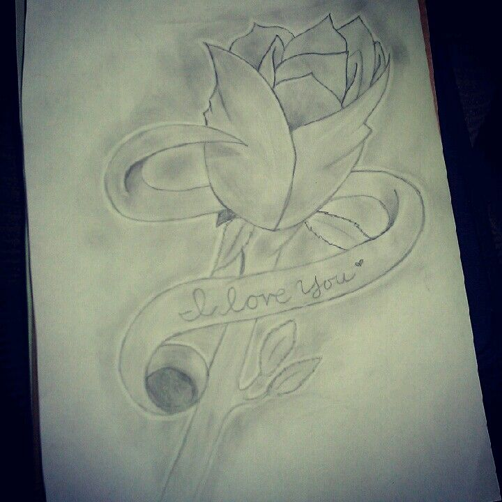 I Love You 3 Drew This Too 3 Flower Pencil Drawing