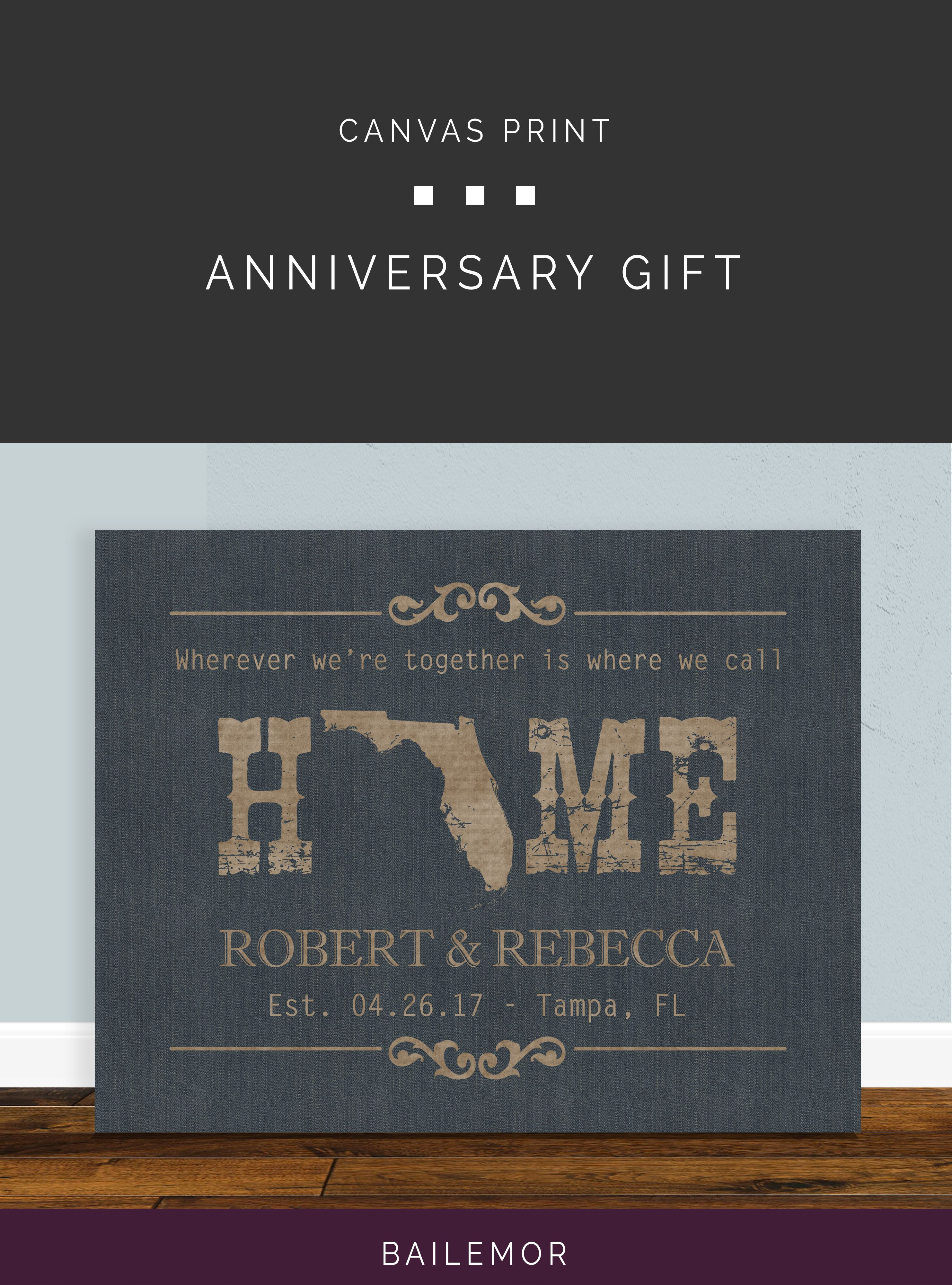 1st anniversary paper gift family name sign home state