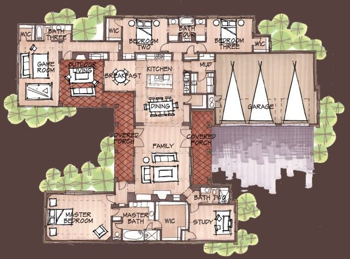 Exceptional U Shaped House With Courtyard | House Plans U Shaped With Courtyards |  First Floor
