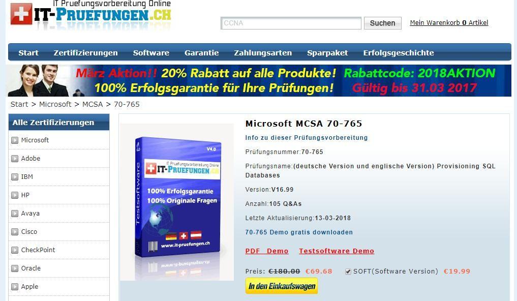 Die Prüfungsunterlagen Fragenkatalogen zu Microsoft MCSA 70-765 ...