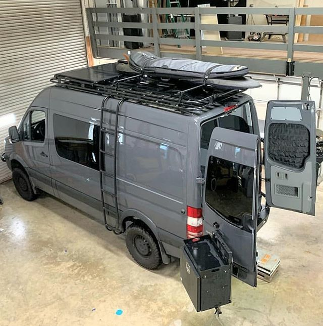 Sprinter Van Loaded With Aluminess Gear Roof Rack Ladder And Rear Bumper System Mercedes Sprinter Camper Sprinter Van Camper Custom Camper Vans