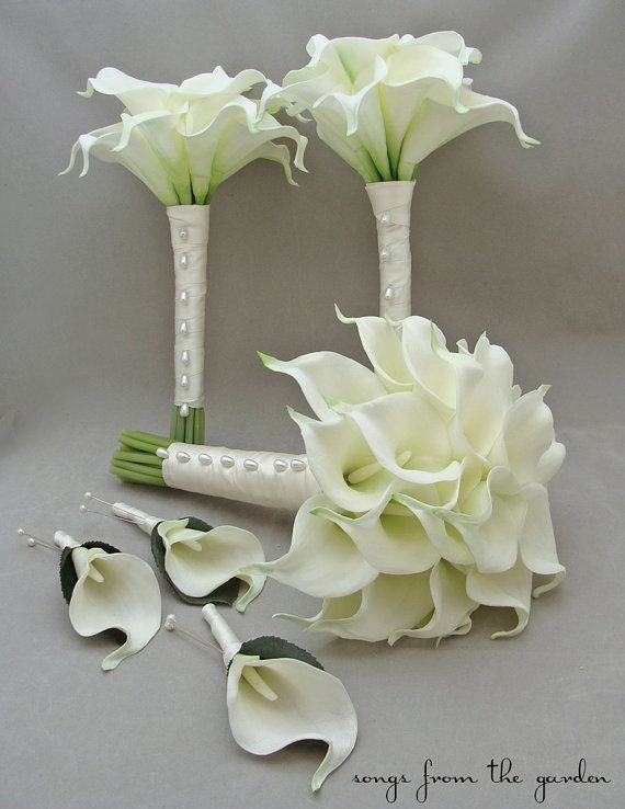 Real Touch Calla Lily Bridal Bridesmaid Bouquets White Real Etsy Calla Lily Bridal Calla Lily Bouquet Wedding Wedding Flower Packages