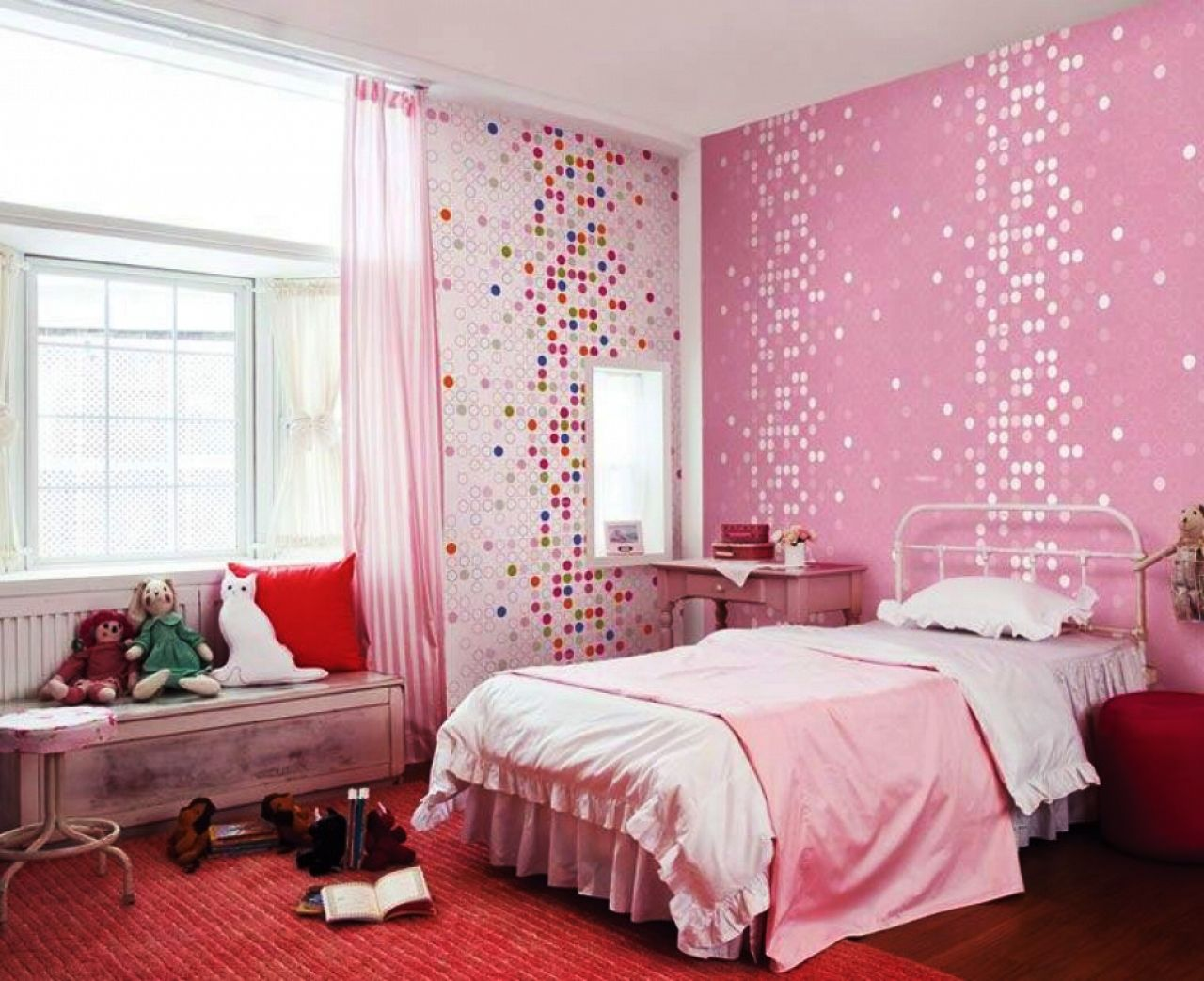 Awesome Kids Room Cute Pink Dotty Wallpaper Girls Bedroom Home Design Girls Bed  Room Design Ideas Girls Teenage Bed Room Interior Design