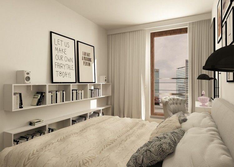 wohnungseinrichtung-ideen-schlafzimmer-weiss-schwarz-wandregale - schlafzimmer ideen in wei