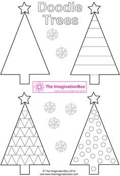 Triangle Christmas 'Doodle Trees', FREE printable to make