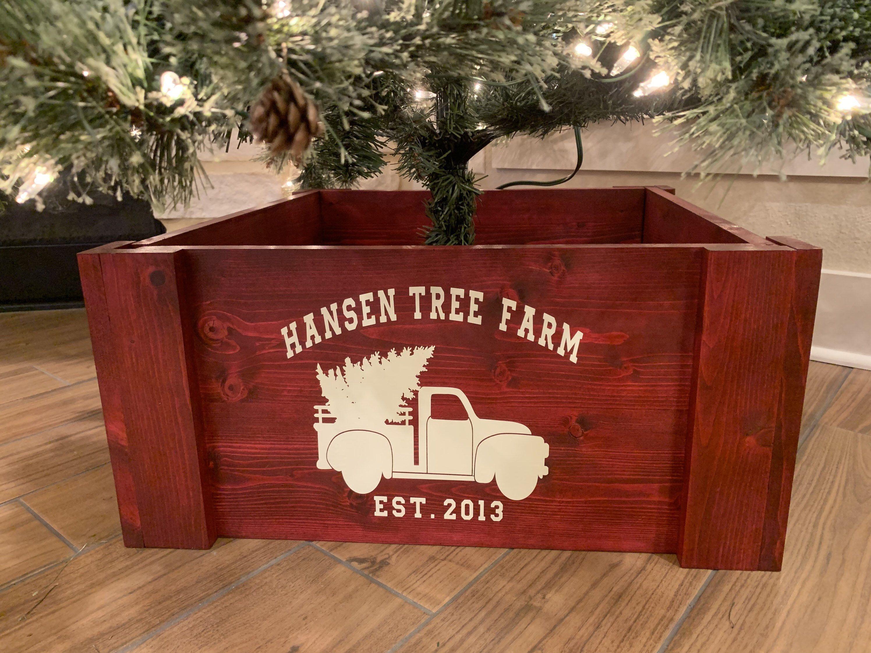 Christmas Tree Box Stand Wooden Tree Skirt Christmas Tree Etsy In 2020 Christmas Tree Box Christmas Tree Box Stand Collapsible Christmas Tree