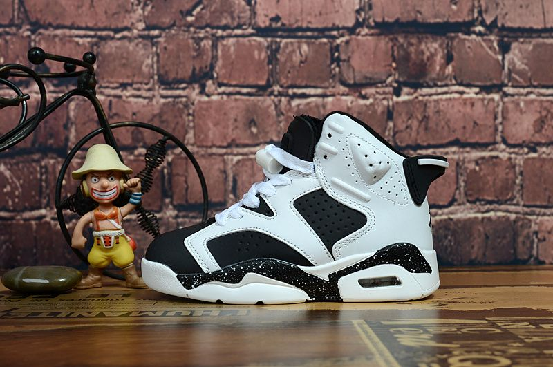 Youth Basketball Shoes 2018 2018 Legit Cheap Kids Youth Air Jordan 6 Retro  Bg Oreo White Black f1bb7cda8
