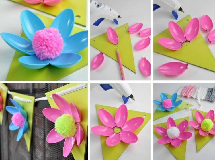 Hubsche Blumen Basteln Mit Plastikloffeln 13 Einfache Recycling