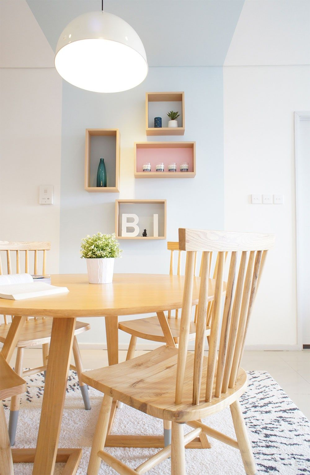 Modern Scandinavian Dining Interior with Pastel Color. Apartment in ...