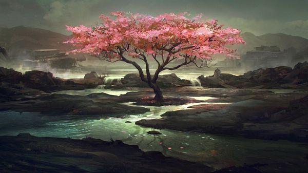 Emotional Gumbo Tree Art Sakura Art Digital Art Fantasy