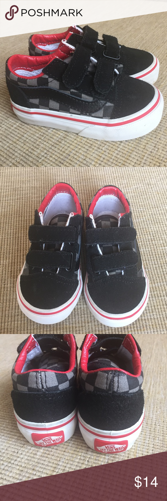 Vans Toddler Checkerboard Skate Velcro Sneaker 5.5 Excellent used condition  Vans sneaker. Some marks on the white rubber 915c3e7dc