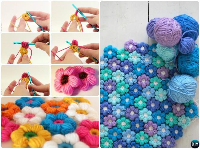 Puff puntada de ganchillo flor combinada Patrón gratuito   Crochet ...