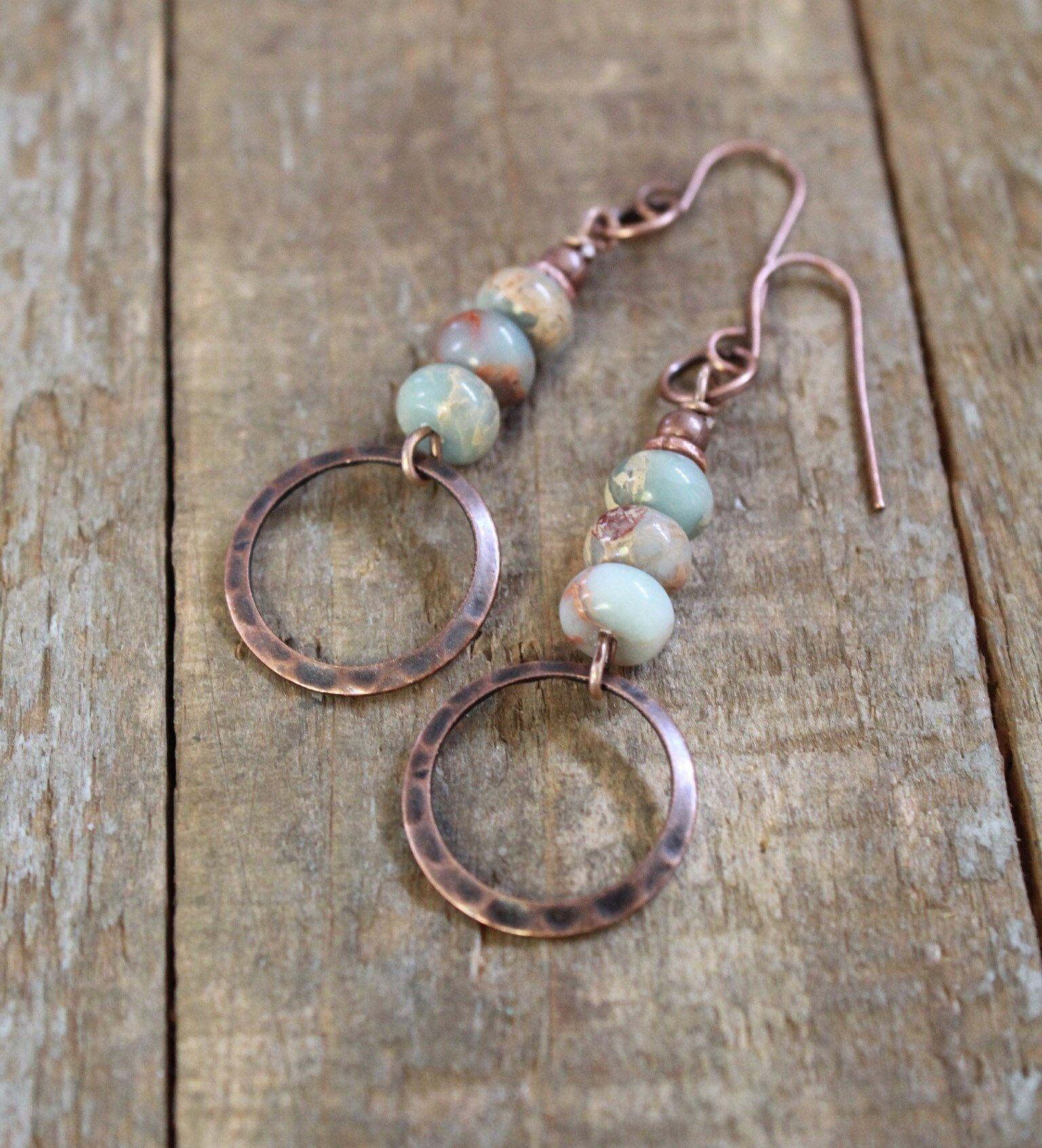 Photo of Bohemian Earrings, Copper Earrings, Copper Jewelry, Natural Stone Jewelry, Copper Dangle Earrings