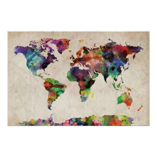 World map urban watercolor poster watercolor print art colorful world map not as geeky as the oldschool pull down maps and adds a gumiabroncs Images