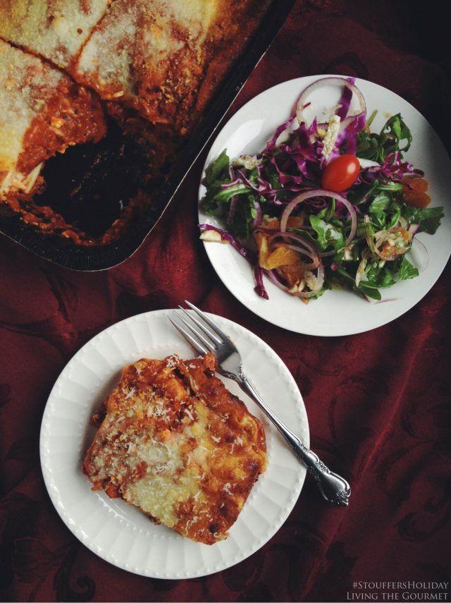 living the gourmet lasagna  arugula citrus salad