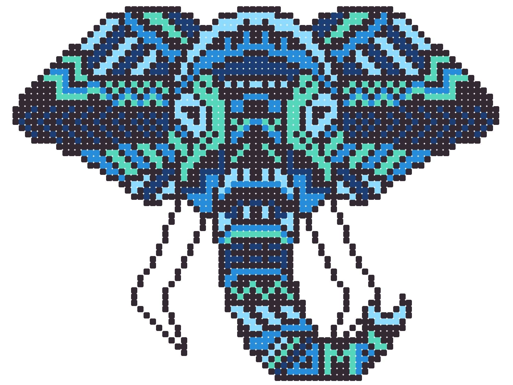 Tribal Elephant Pixel Art Can Be Used As A Template For