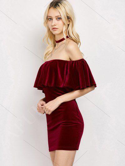 6d17eb1968c2 Women Velvet Off The Shoulder Bodycon Dress - WINE RED S Mobile ...