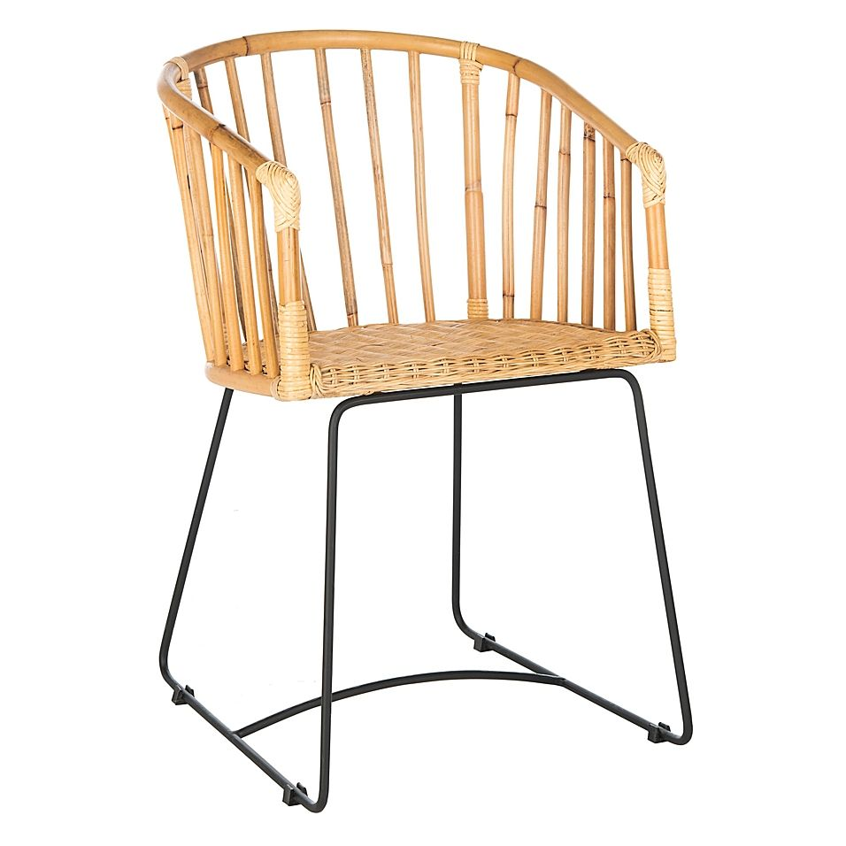 Safavieh Sienna Rattan Barrel Dining Chair In Natural/black