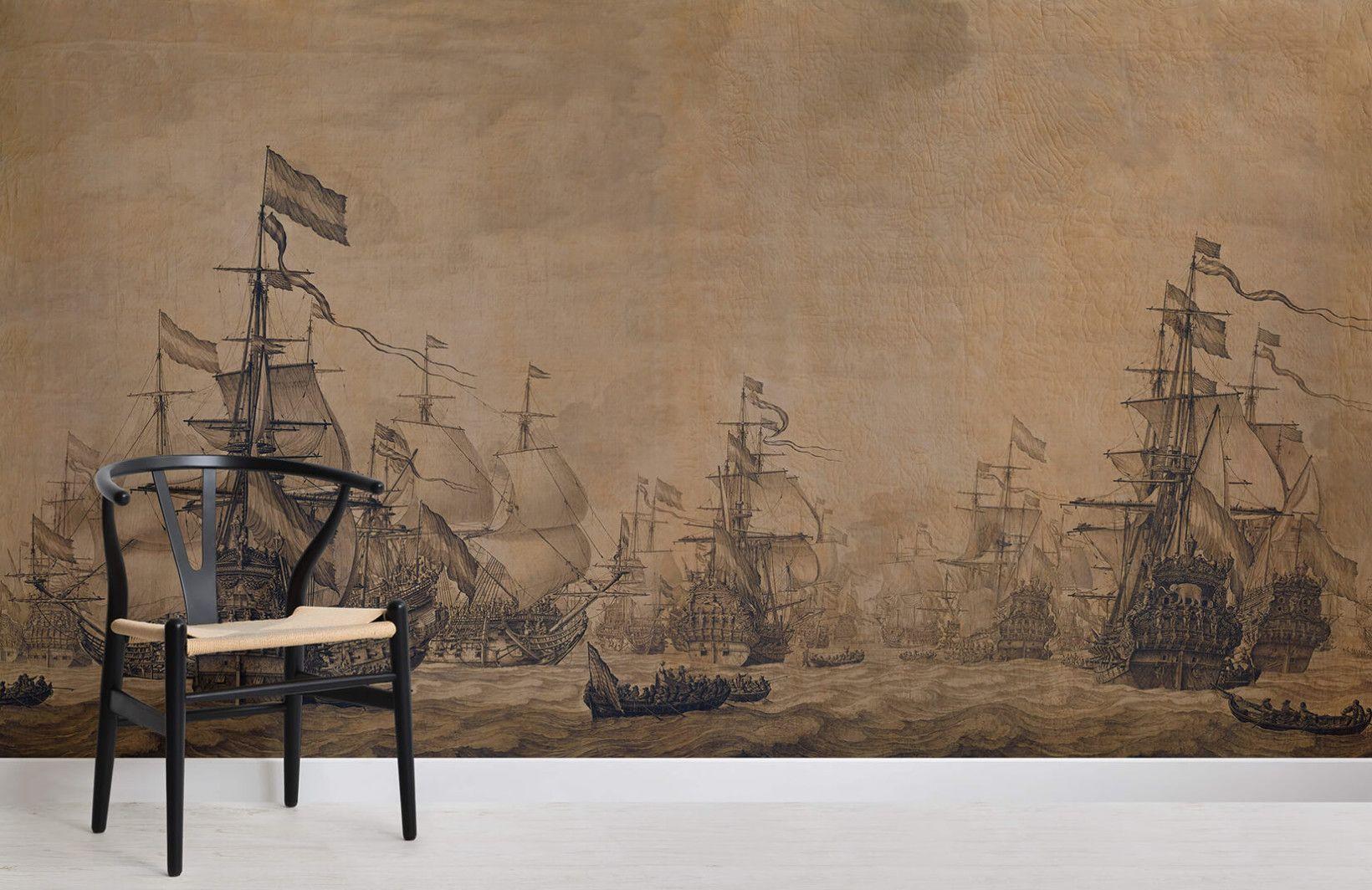 dutch flagships at sea van de velde art room painting wallpaper mural painting